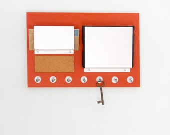OFFICE WALL ORGANIZER: File Mail Holder Bulletin Cork Board Key Holder Multi Purpose Wall Mount Organization Center with Hooks