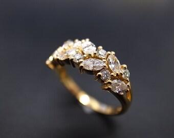 Marquise Diamond Wedding Ring in 14K Gold, Marquise Diamond Engagement Ring, Marquise Diamond Ring, Diamond Wedding Band, Marquise Rings