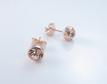 Set of...Rose Gold Earrings, Bridesmaids Earrings Set, Gift Set Earrings, Rose Gold Stud Earrings