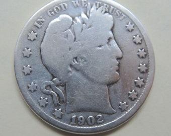 1902-O Barber Silver Half Dollar FREE Shipping