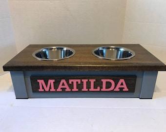 Small Dog Dish Stand, Personalized Dog Bowl,Dog Bowl Stand,Dog Bowl, Raised Dog Feeder,Elevated Dog Feeder, Dog Bowl Holder, Feeding Station