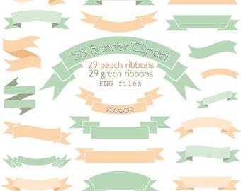 Ribbons Clipart Vector Ribbons Clip Art Digital Banners Clipart Scrapbooking Rustic Wedding Clipart Invitations Card Making Ming Peach