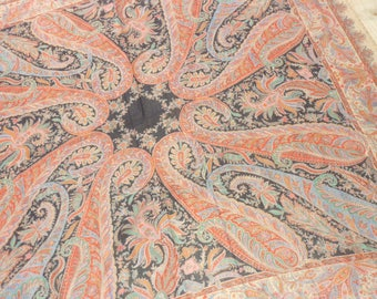 "Vintage Challis Wool Paisley Shawl...Large 54"" Square...Good Condition"