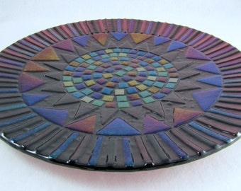Large Fused Glass Platter - Deep Plum Serving Platter - Shimmering Iridized Glass Plate - Geometric Patterned Glass Platter - Home Decor