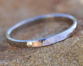 14K Palladium White Gold Hammered Ring 2mm Skinny Simple Wedding Band, Sea Babe Jewelry