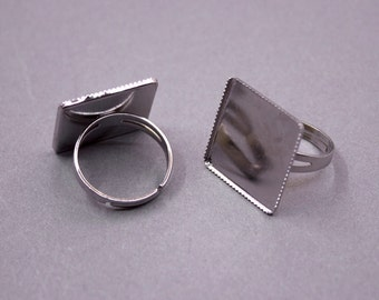 3 Silver Adjustable Square Ring Base Blank Findings with 20mm Square Pad Cameo Setting