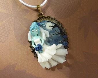 Ghostbride Cameo Necklace - Halloween Jewelry - Halloween Necklace - Ghost Necklace - Ghost Jewelry - Polymer Clay Jewelry