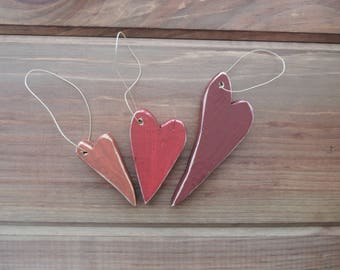 Trio of Wooden Hearts - Primitive Heart Ornaments