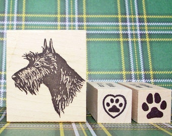 Scottie Love Rubber Stamp Set Scottish Terrier Head with 2 Pawprint Mini Stamps Heart Paw