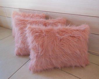pale pink fur pillow
