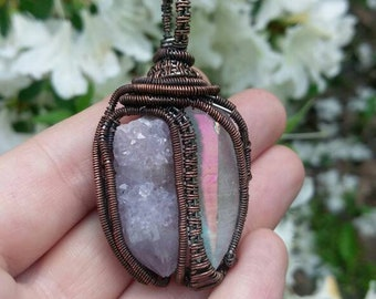 Angel Aura Quartz & Amethyst Spirit Quartz Wire Wrapped Copper Pendant