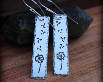 Dandelion earrings, sterling silver stamped handmade, dandelion jewelry