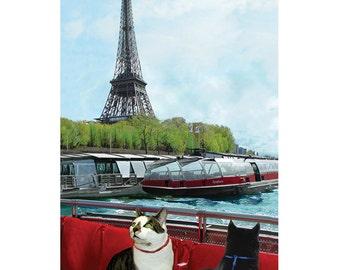 Cats in Paris Handmade Greeting Cards, Funny Cat Cards, Blank Note Cards, Cat Art by Deborah Julian