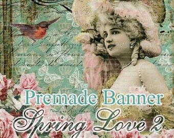"""Shop Banner Set - Premade Banner Set - Etsy Shop Banner Set - Graphic Banner Set - """"Spring Love 2"""""""