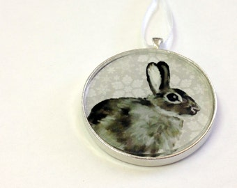 Ornament - Fauna Collection - Bunny  (Packaged) - Original artwork - Original artwork with Holiday themed background - most popular