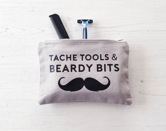 Beard & Tache Wash Bag, Father's Day Gift, gifts for men, man wash bag, gift for Dad, toiletry bag, grooming kit, gift for man, beard gift