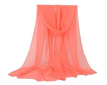 Tomato Chiffon Scarf - Coral Chiffon Scarf - Orange Scarf - Large Chiffon Scarf - Sheer Chiffon Scarf - Solid Color Georgette Scarf  PS90