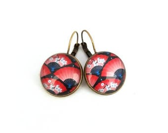 Cabochon earrings Japanese pattern, glass cabochon, bronze, red, blue Japanese fan, gift idea, alodycrea