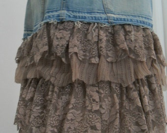 SALE Mocha Crème ruffled lace jean skirt Seven for All Mankind bohemian Renaissance Denim Couture taupe vintage fairy goddess mermaid
