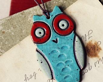 Funky Owl- handmade ceramic christmas ornament