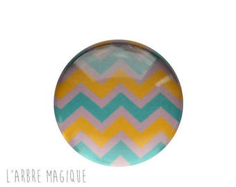 2 cabochons glue Chevron glass 20 mm M331