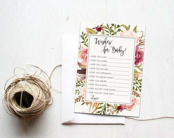 Wishes for Baby Shower Printable Download Insert, Dear Baby Shower Game, Spring Baby Shower Party, I Hope You, Matching, Autumn Harvest