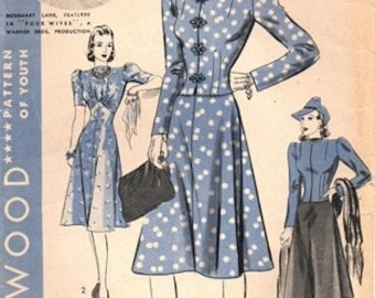 Hollywood 1949 Fashionista Favorite Dress & Jacket / ca. 1939 / SZ12 COMPLETE