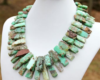 Chunky Chrysoprase STATEMENT Necklace Double Strand Green Brown Rustic Exotic Tribal Goddess Chic Couture High Fashion by Mei Faith