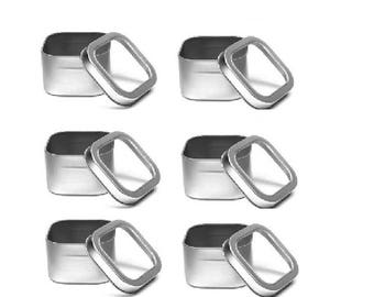 8 oz  Clear Top Square Tins- Set of 6