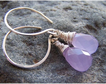 NURTURE - Sterling Silver Wire-wrapped Lavender Chalcedony Earrings