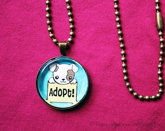 """Adopt Don't Shop Puppy 1"""" Pendant Necklace - or 2 for 20 - Animal Rights Pet - ReLove Plan.et"""