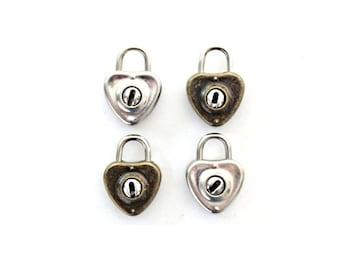 1 Small Heart Padlock and Key - heart lock and key . vintage diary lock . bronze lock . heart charm . lock charm . silver wedding decor