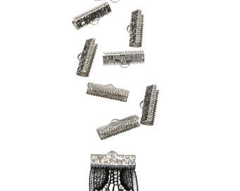 50 pieces  20mm  (3/4 inch)  Platinum Silver Ribbon Clamps - Artisan Series