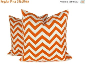 15% Off Sale Orange Throw Pillow - Sofa Pillows  - Fall Pillow - Orange Pillow Covers - Chevron Pillow - decorative pillows for couch - zigz