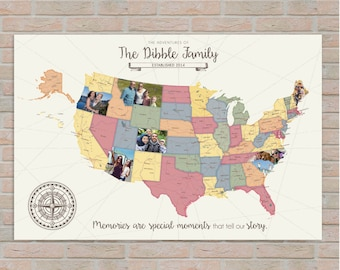 Road Trip Map, USA Map, Photo Travel Map, Custom Photo Map, Family Vacation, Gift for Traveler, Globes & Maps, Modern Map  // H-I24-1PS XX0
