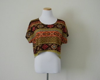 FREE usa SHIPPING vintage 1980s woman's cropped top/blouse/short sleeves oversized tribal bohemian ethnic size S-M