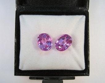 Matching 12 mm x 10 mm Oval Cut 16.50 CTW Lab Pink Sapphire Gemstones