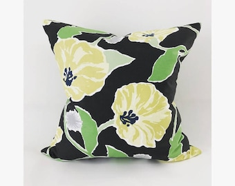 Floral Poppy Pillow Cover, Pillow Cover, Floral Pillow Cover, Large Floral Pillow Cover, Navy Pillow Cover