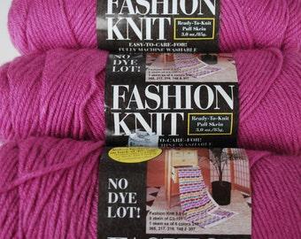 3 skeins Fashion Knit /color mauve/ vintage yarn/4 ply