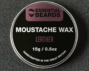 Essential Beards LEATHER Strong Moustache Styling Wax 15g Made in the UK