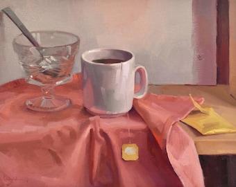 "Art painting still life ""Playa Tea"" original oil by Sarah Sedwick 12x16"" Framed"