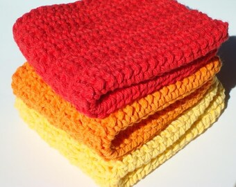 Three Cotton Dishcloths - Orange, Red, Yellow Crochet Dish Cloths from Hoooked - Flame Dishcloths, Dish Cloths for Kitchen Gift Housewarming