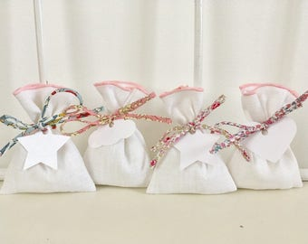 Candy pink stitching and liberty white linen pouch