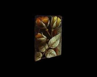 Antique Victorian Stained Glass, Gold & Silver Rosebuds, Climbing Rose, Gothic Church Window Relic, Romantic Historic England, Token of Love