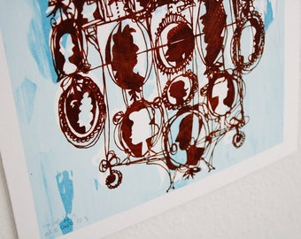 CAMEOS #123 | elegant classic Victorian style silhouettes in chocolate brown and pale sky blue, signed screen print (8x10)