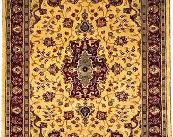 Persian Kirman Hand Knotted Silk Wool Rug