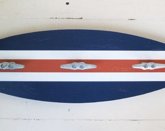 """Surfboard Towel Rack 28"""" with Boat Cleats Navy and Orange"""