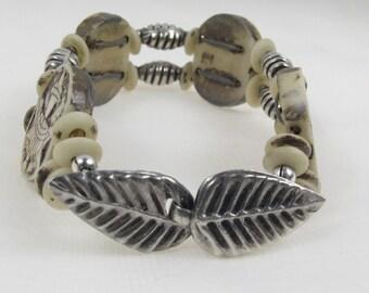 Indonesian bone and Silver Bracelet