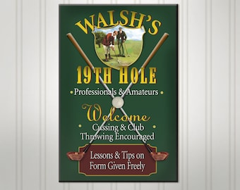 Personalized Golf Sign, Green or Burgundy 19th Hole Man Cave Pub Sign, Beer Sign, Man Cave Bar Decor