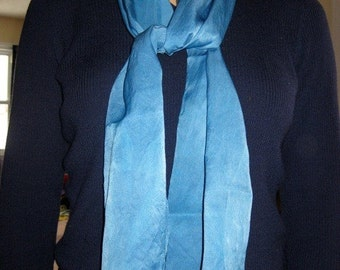 Luxury Silk Charmeuse Scarf - Naturally Dyed, Beautiful Blue